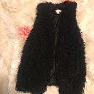 Xhilaration Jackets & Coats - Black Fluffy Furry Fur Soft Vest
